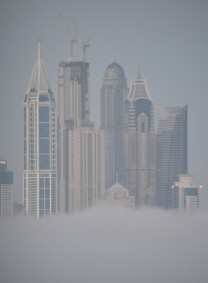 Marina Towers, Dubai in early morning mist...