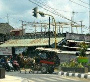 Junction, wires, bikes,decrepit buildings and horse and trap..seemed to encapsulate the progress here...
