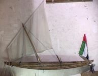 Model of fishing boat used in olden times, a fragile little craft...
