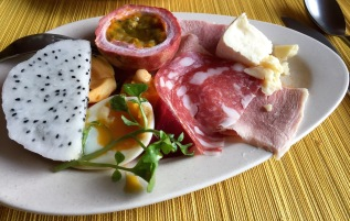 Dragon fruit, Passion fruit, Jackfruit, Salami, Egg ,Ham and Cheese ..all from the Six Senses breakfast cool room .. yummy ..