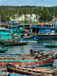 Busy turquoise scene in the port...