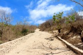 Climbing back up from Pink coral beach...