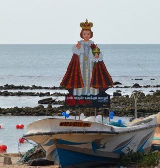 Religious Festival icon on the coral reefs at Point Pedro....