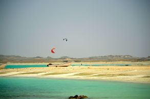 Kite surfing at Snorkel beach, Masirah...