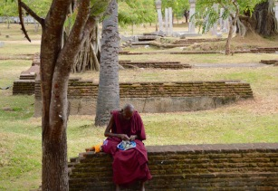 Monk resting on a wall...
