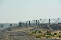 The Oman border fence at Al Quaa, right by the road...