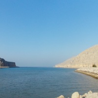 Driving the Jebel Al Harim road to the Rawdah bowl, Musandam peninsula, Oman