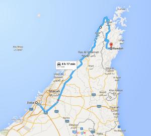 Dubai to Rawdah, Oman via Jebel Al Harim..