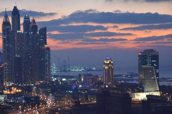 Pink and blue hues over Dubai Marina...