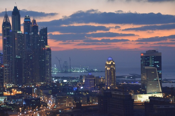 Pink and blue hues over Dubai Marina...