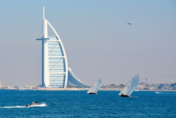 Speedboat ,Dhows, Helicopter and the Burj Al Arab..
