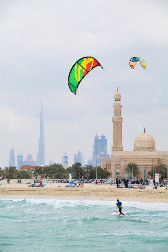 Kite surfing at the city beach...