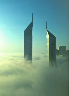 Emirates towers in the mist...
