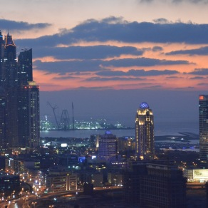 To the left Dubai Marina and a glorious sunset...