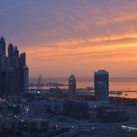A pink sunset over Dubai Marina...