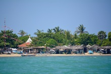 Church and huts on the island....