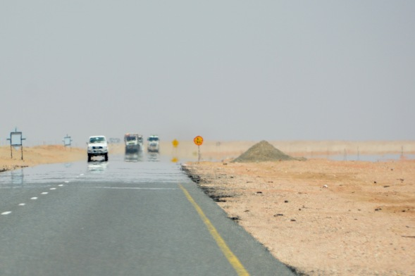 A typical landscape scene in Oman, the flood plain on the right is a rare occasion..