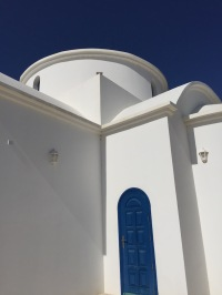2-Small church in Cyprus, Blue door and blue skies makes the white structure dominant...