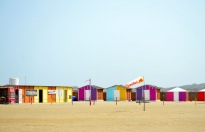 Colourful lodgings at the Kite Board school on Sur Masirah beach....