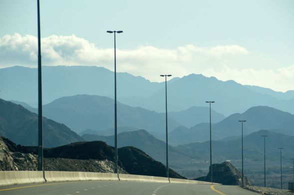 Across the rocky range before the coastal plain at Fujairah, East coast, Uae...