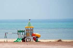 No takers for the beach playground in 45degree heat, Delma island...