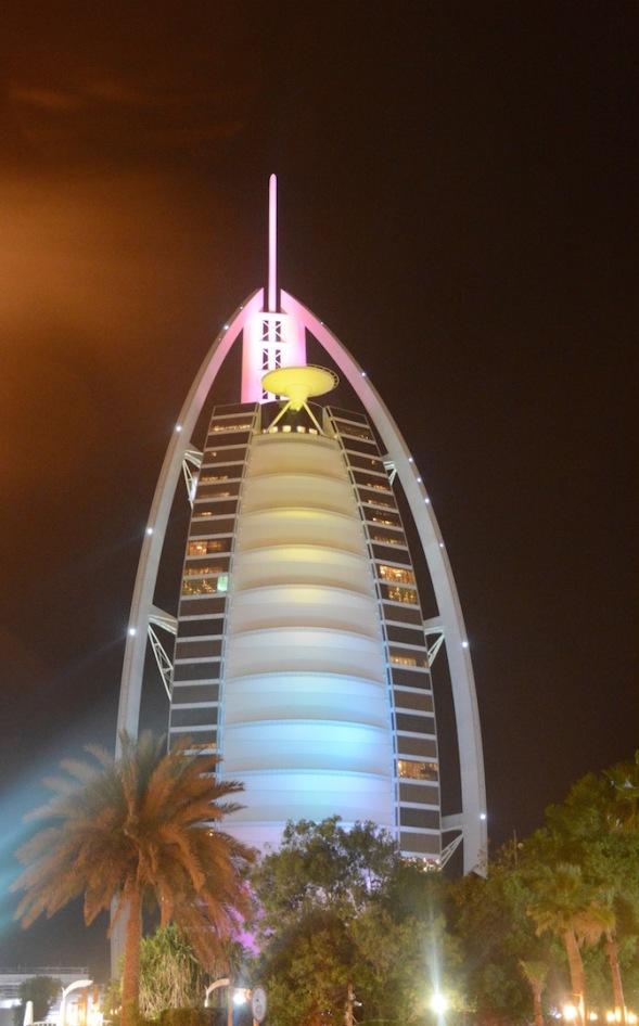 Burj Al Arab, lit up at night...