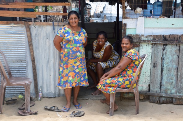 Smiling faces for my camera, fishermen's wives on the island of Baththalangunduwa....