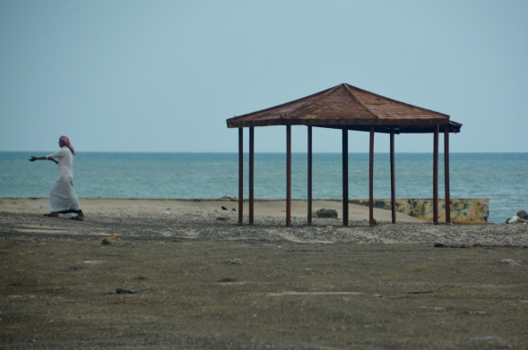 Plenty of gazebo's scattered along the coastline, for shade, no doors though!