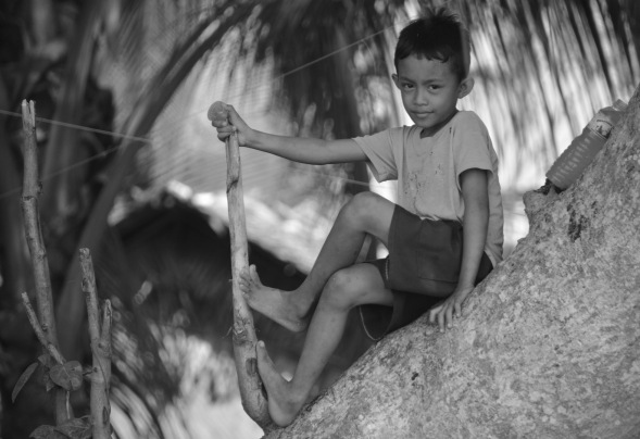 A portrait contrast, small boy on Palawan, turned to black and white, I think it works....