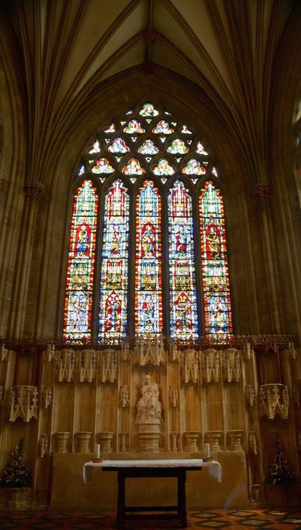 The five windows of the Lady Chapel contain ancient stained glass, mostly fragmentary, except for the central window, above.