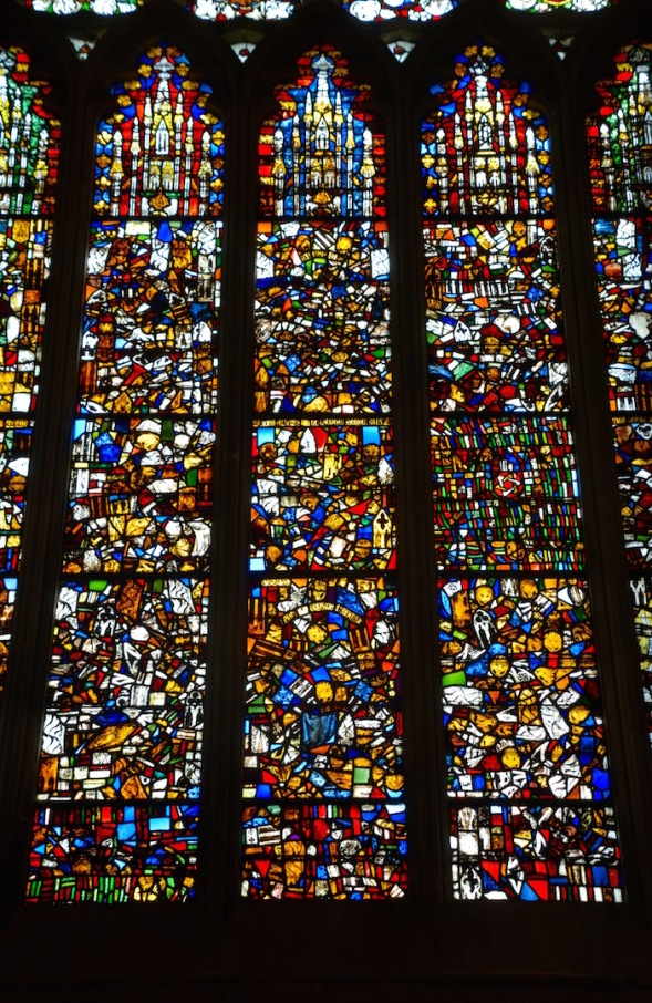 Fragmented windows in the Lady Chapel...
