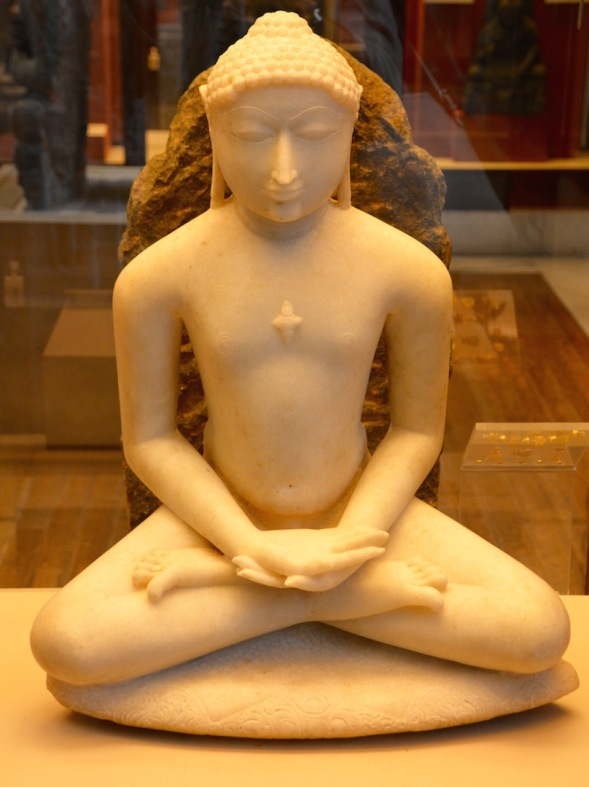 Tirthankara , British Museum, London .The Tirtankhara in the Jain tradition is a prophet who at different times came restore fair knowledge of the Jain doctrine. This sculpture is from the 12th century BC.