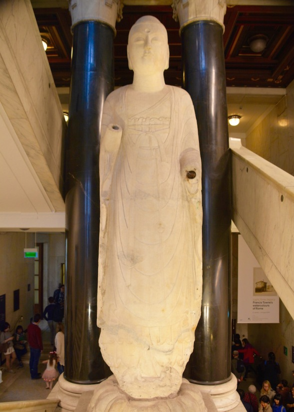 A massive white marble figure of Amitabha Buddha from the Sui dynasty around 585 bc, height 5.78 metres...