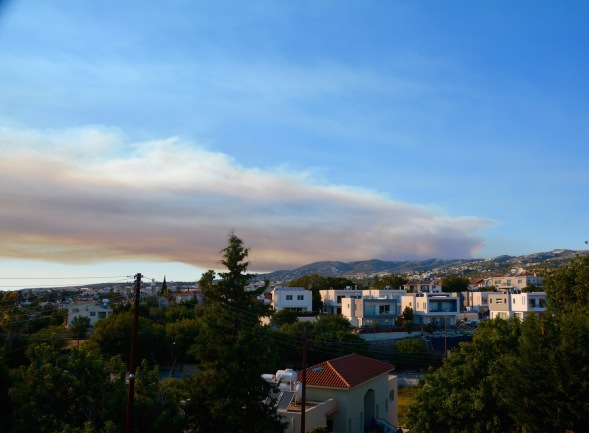 Smoke from the burning forest fills the sky..... view from my roof....