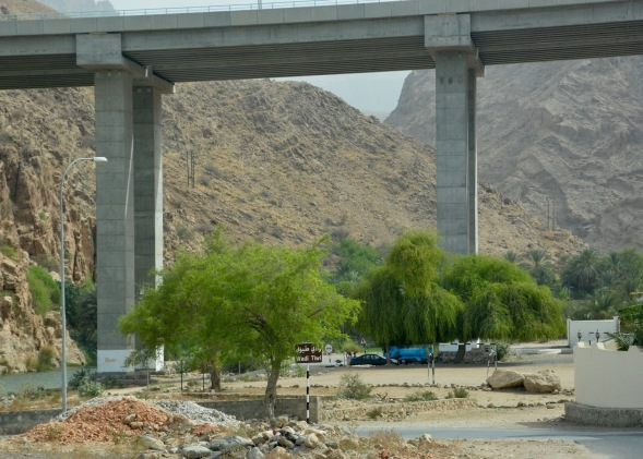The entrance to Wadi Tiwi lies under a massive bridge which carries the E17 from Sur to Muscat....