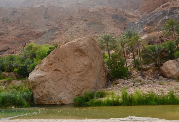 Wadi pools and massive rocks, dropped off the mountains above....