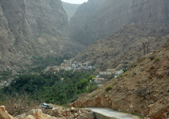 Yes, there is a village up here and date palms...