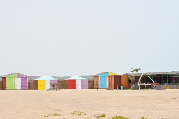 Masirah beach camp, funky colours and whalebone on this vast beach....
