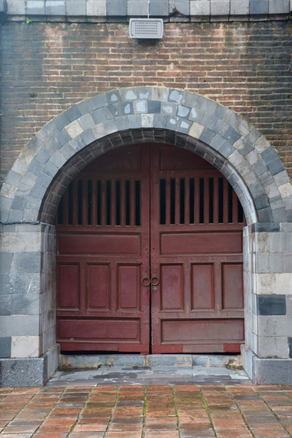 Fairly stern looking doors, I suspect it's a minions entrance...