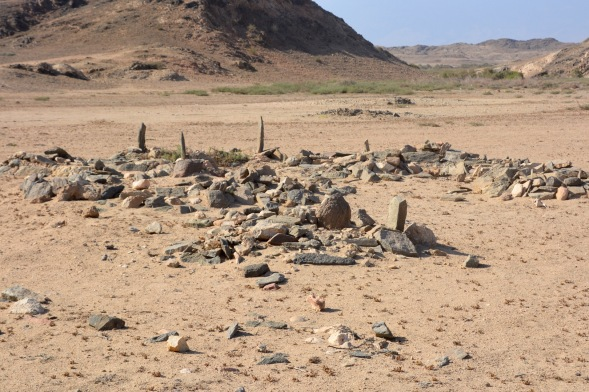 A lonely graveyard at the edge of a wadi...