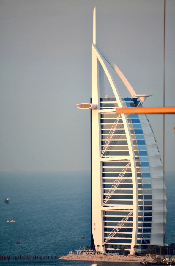 To the right, on tip toes, I can just get the Burj Al Arab hotel in a shot...