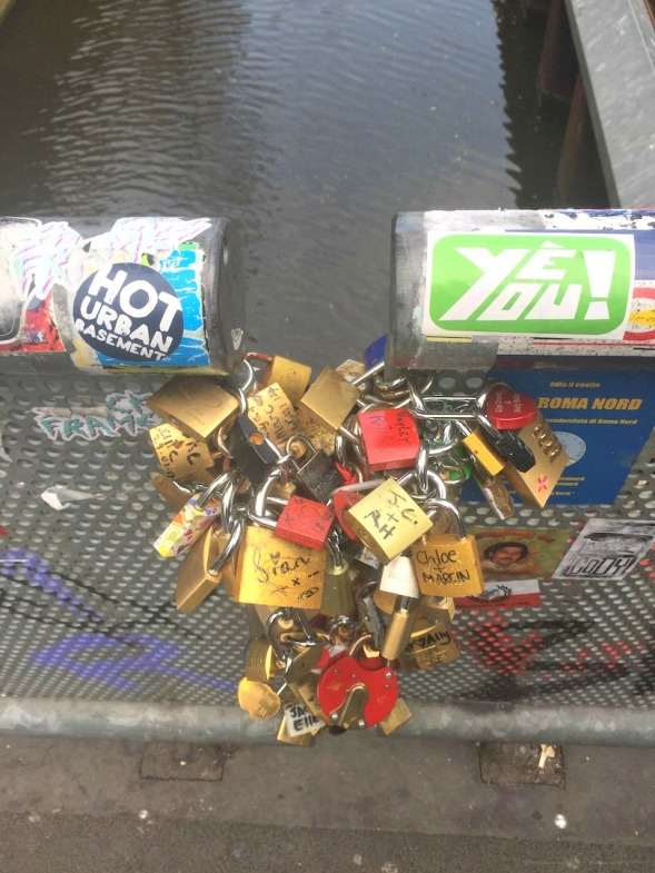 Lock love on a canal bridge...