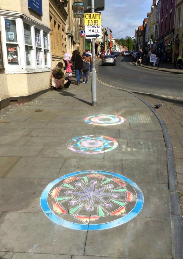 Rangolis in Glastonbury, not unexpected...
